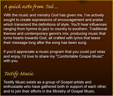 Testify Music - Home - Comfortable Gospel Music